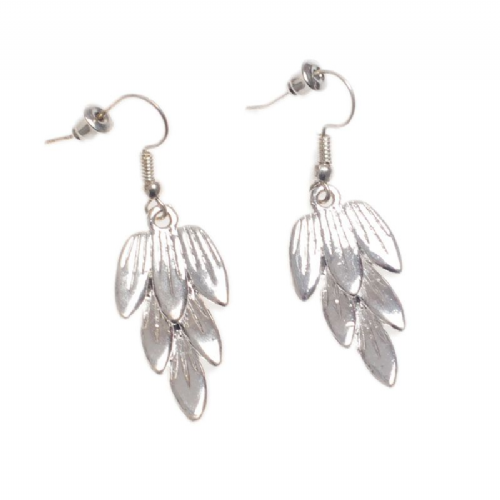 Sweeping Feathers Drop Earrings In Brushed SIlver